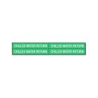 Pipe Marker, CHILLED WATER RETURN, 1.125 in. H x 7.000 in. L Marker, White Legend, Green Background