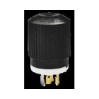 Locking Plug, 20A, 250V, 2P 3W Nylon Black/White