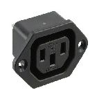 Flanged Female Outlet, 15A 250VAC, 3P, Black