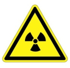 ISO Warning Label, Legend: CAUTION - RISK OF IONIZING RADIATION, Black, Vinyl, 1.97 in. L