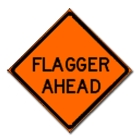 Roll-Up Traffic Signs Mesh Front - Flagger Ahead - 28597