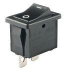 Rocker Switch, SPST, On-Off (maintained), Black, 250Vac, 9A/125Vac, 6A/250Vac, 4A/30Vdc