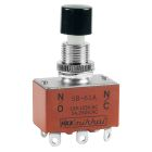Pushbutton Switch, DPDT, On-On(momentary), 250VAC, 10A/125Vac, 5A/250V, Black, Round Button
