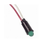 Indicator Light, 5V, LED Lamp, Green Round Lens, 0.249 in. Dia Hole Panel Mount, Wire Leads Terminals
