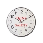Clock, Round, 12 in. Dia, With Safety Think Logo