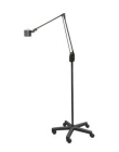 Task Light, LED Lamp, Mobile Floor Stand Mount, Grooved Aluminum, Black