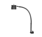 Task Light, 8W, LED Lamp, L Bracket Mount, 7-ft Cord, Grooved Aluminum, Black