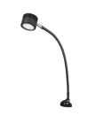 Task Light, 14W, LED Lamp, Clamp Base Mount, 7-ft Cord, Grooved Aluminum, Black