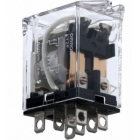 Power Relay, 100/110VAC Coil, 8-Blade Terminal, 250VAC, 10A, 2 Poles, Plug-In Base Mounting