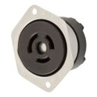 Locking Flanged Inlet, 15A 125/250VAC, 3W 3P, Metallic