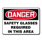 Personal Protection Sign Plastic Danger Safety Glasses Required In This Area - 96020VP
