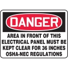 Electrical Sign Adhesive Vinyl Danger Area In Front Of This Electrical Panel Must Be Kept Clear For 36 Inches OSHA NEC Regulations - 98975VS