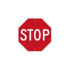 Traffic Regulatory Sign, STOP, Octagonal, White Legend, Red Background, Aluminum, Reflective