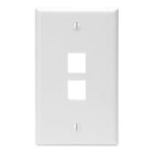 Wall Plate, 1 Gangs, 2 Ports, White, Flush Mounting, Quick-Port Snap-In Module Configuration
