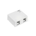 Surface Mounting Box, 2.55x1.10x2.95 in., White, Side Position, 2 Ports